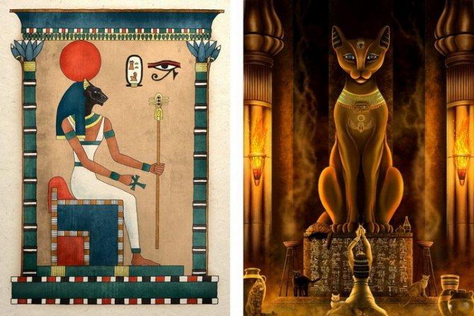 египетская богиня Баст с головой кошки