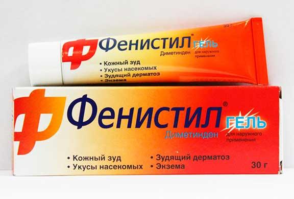 Фенистил Гель поможет после укусов клопов снять зуд и воспаление