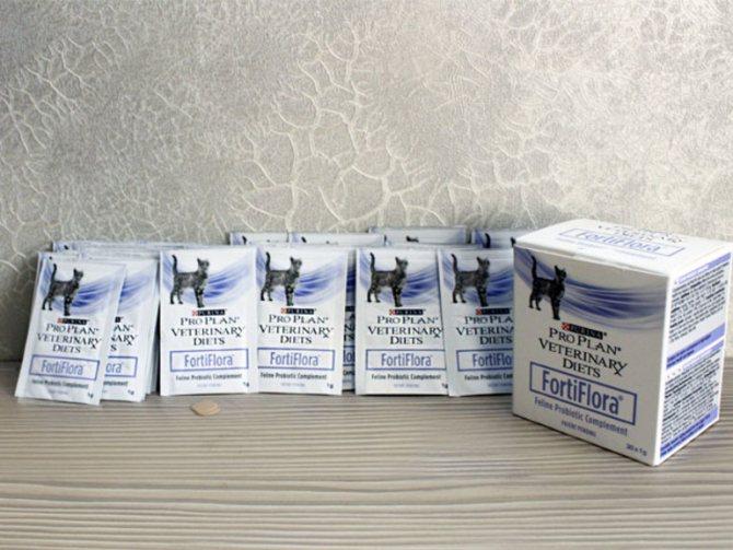 Fortiflora для кошек выпускается в небольших пакетиках