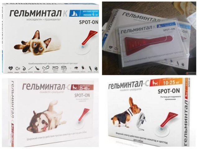 Капли Гельминтал на холку для собак