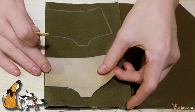 Переносим выкройку намордника на ткань