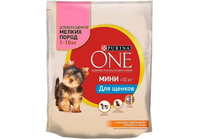Purina One для щенков мелких пород с курицей и рисом