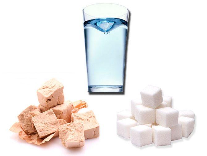 Вода, сахар, дрожжи